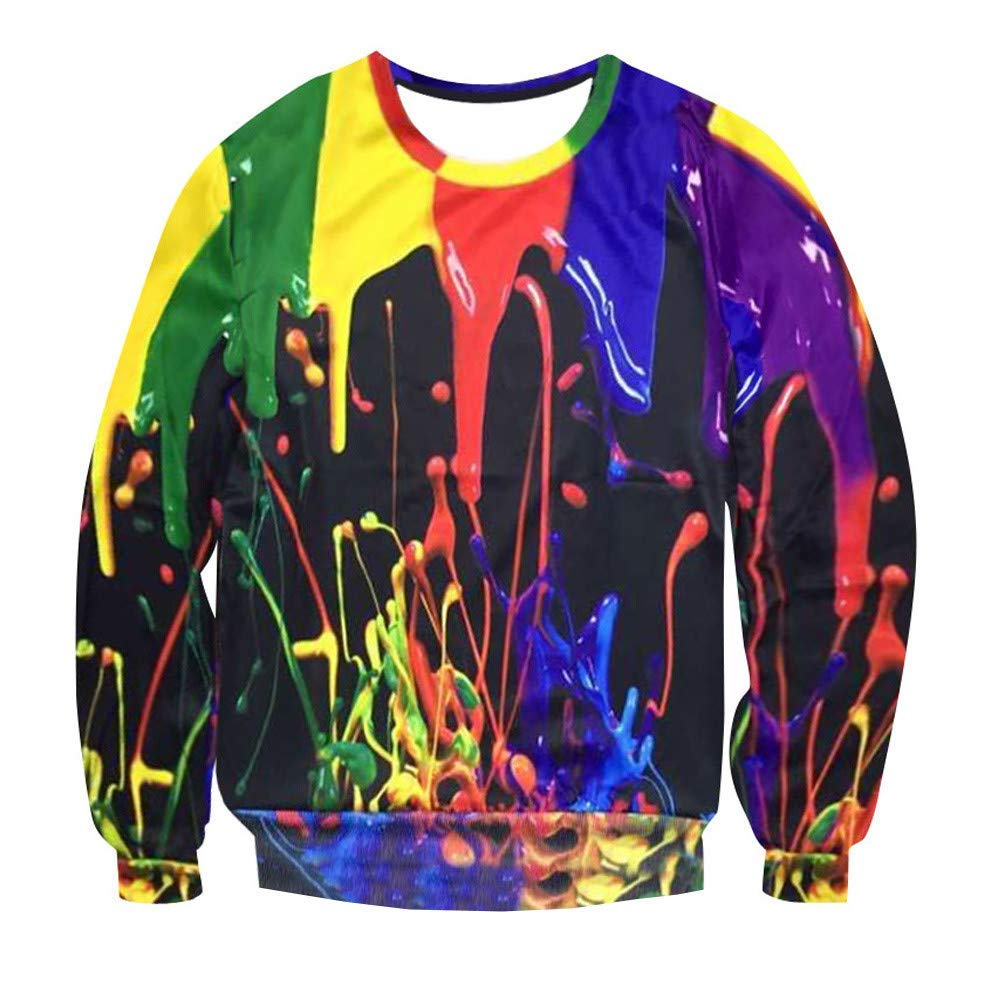 52f49b0f200 Get Quotations · Mens Psychedelic 3D Splash-Ink Printed Long Sleeve T Shirts  Sweatshirt Top Blouse Plus Size