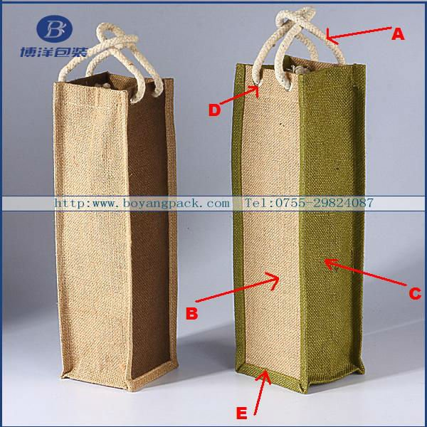 india Jute winebags one bottle cotton handle green gussets