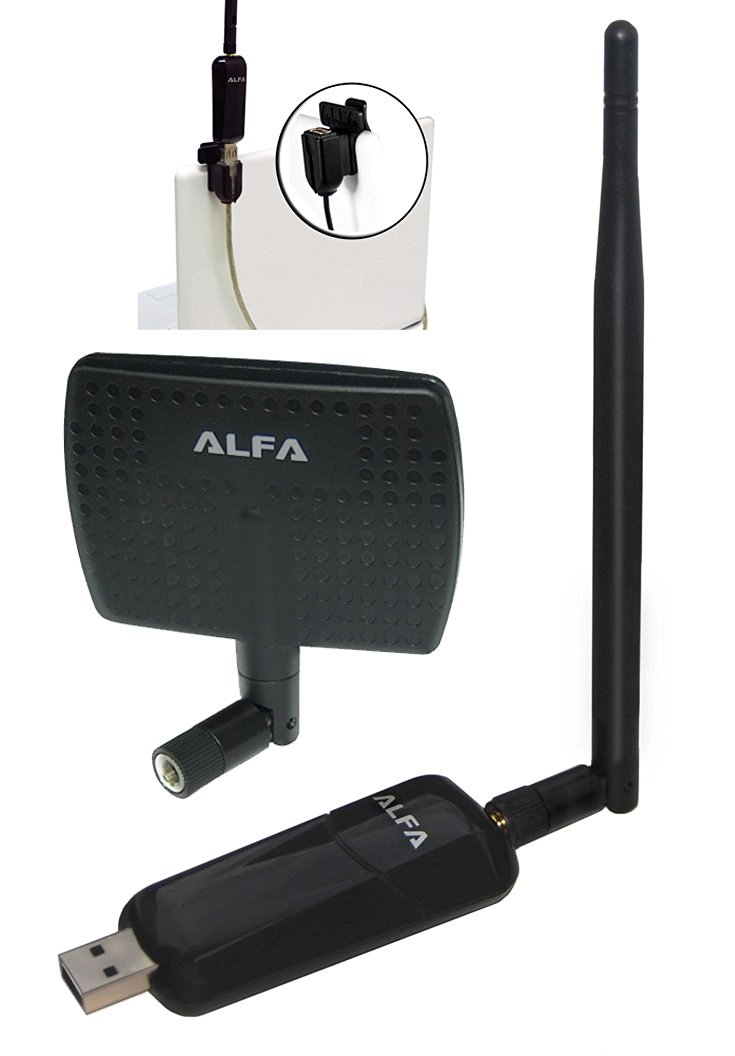 Alfa AWUS036NEH 1000mW 1W 802.11g/n High Gain USB Wireless G / N Long-Range WiFi Network Adapter Dongle With Original Alfa 5dBi and 7dBi Panel Antenna - and USB Dongle clip, Suction cup and Extension Cable for easy use