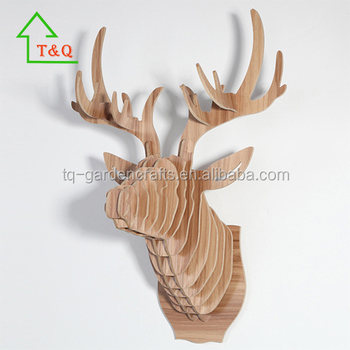 Wooden Deer Head Wall Art Hanging Stag Antlers Home Decoration