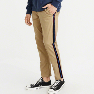 China supplier wholesale Men's Stripe Track Pants Skinny Fit Stretch Casual Twill Fabric Pants