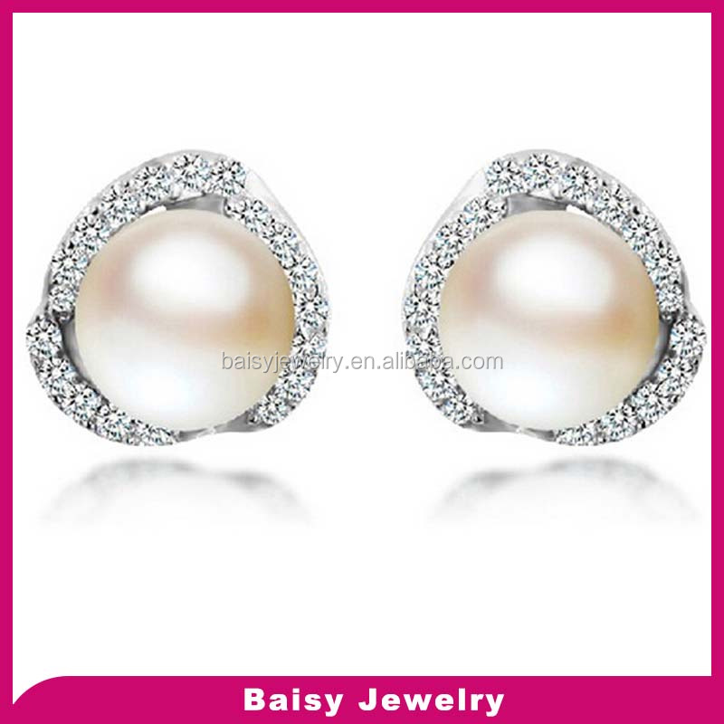 mother day gift Fashion pearl 925 sterling silver earrings