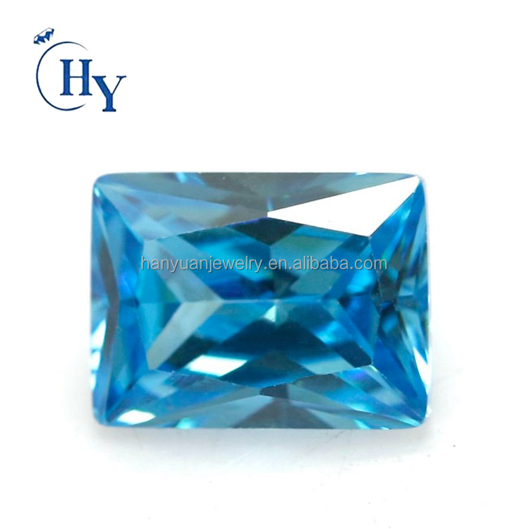 5A loose cz 2x3mm ~13x18mm ready stock aquamarine rectangle cubic zirconia