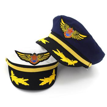 ed3c8437e803 De Algodón Blanco Azul Marino Sombrero De Capitán De Mar Gorra De Uniforme  Gorra De Marinero Plana Gorra Militar Adultos Hombre Y Mujer Piloto ...