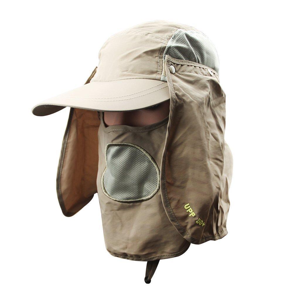 fb02222e197 Get Quotations · 360 Degrees UV50+ Sun Protection Fisherman Hats Removable  Sun Shield Mask Summer Sun Hats Baseball Cap Packable
