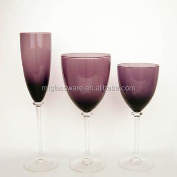 3 Pcs Of Set Cheap Clear Stem Purple Colored Wine Glasses