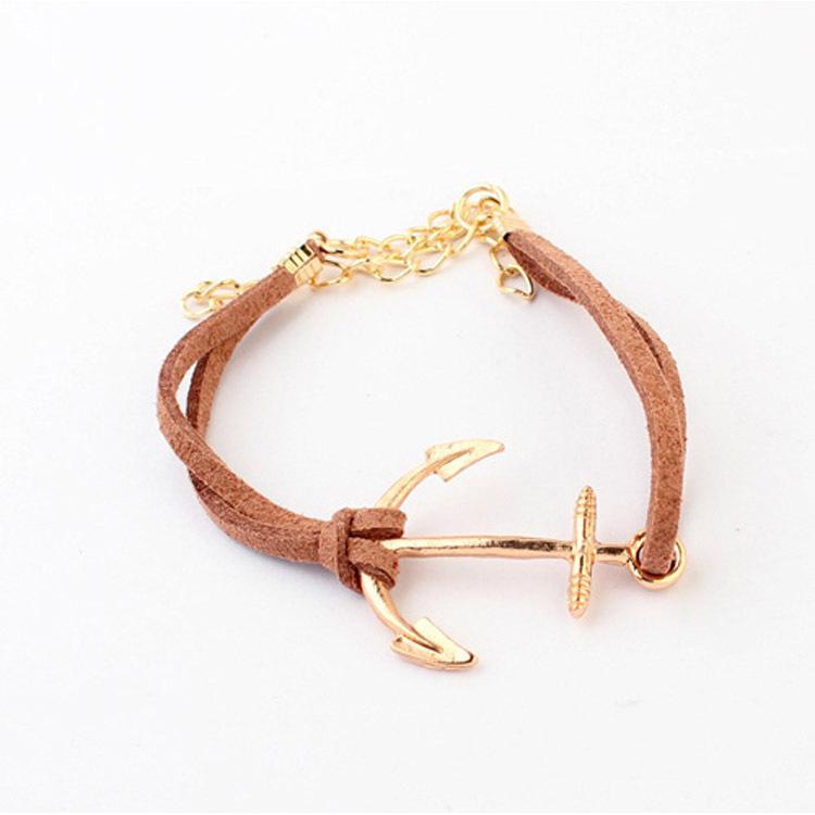 5 цвета золотой браслет мода женская горячая корейский бархат тканые якорь браслет ES88
