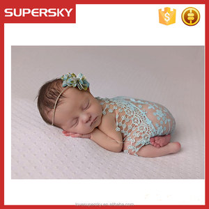 M152 45cm*45cm Fashion Newborn Baby Photo Props Outfit Photography Props Infant Photo Wrap Cloth Lace Stretch Blanket