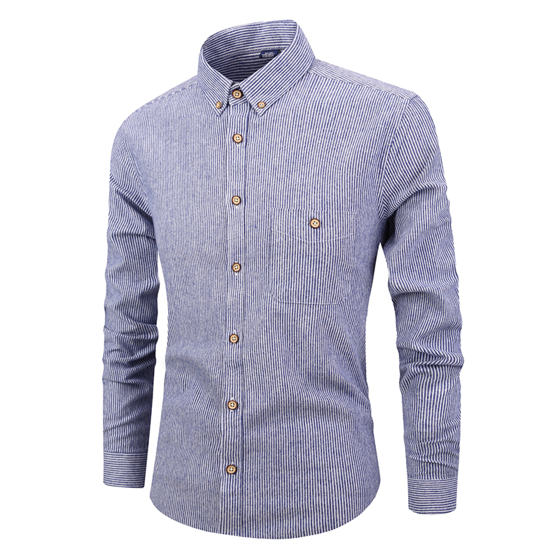 Custom casual long sleeve striped 100% cotton shirts for men фото