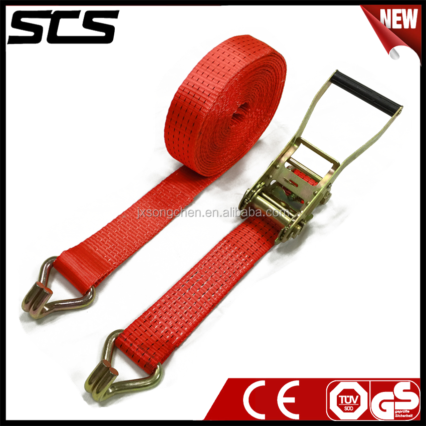 Ratchet Tie Down Assembly with high strength strap
