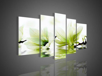 5 Panel Wall Art Flower Magnolia Green Oil Painting On Canvas Pictures Decorative & 5 Panel Wall Art Flower Magnolia Green Oil Painting On Canvas ...