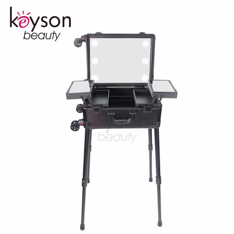 Keyson Lighting Makeup Case with Stand Portable Makeup Station Lighted Makeup Studio