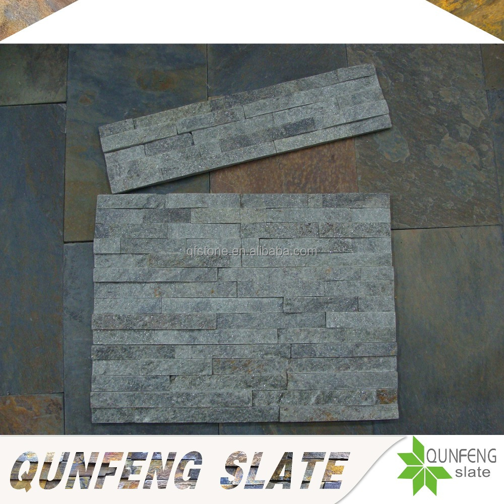 QUNFENG SLATE Green Quartzite 3D Decoration Stone Wall Panel