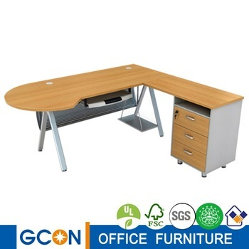 Modern Bullet L Shaped Executive Office Table With Side Cabinet