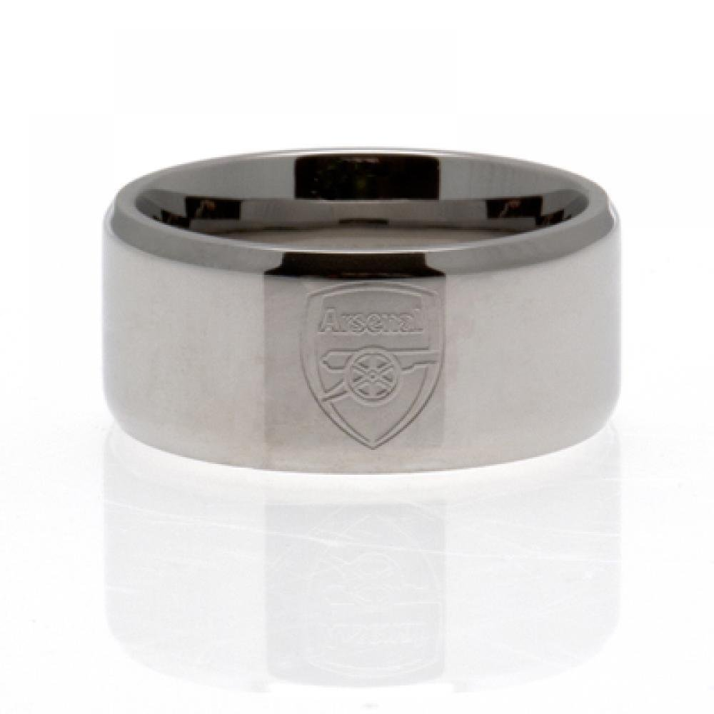 Football Gifts - Arsenal Fc Gift Ideas - Official Arsenal Fc Stainless Steel Band Ring (Large) - A Great Present For Football Fans