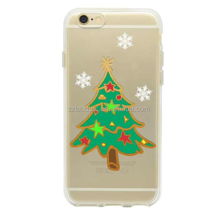 for iphone 7 case,OEM print clear pc and tpu back cover mobile phone case for Christmas