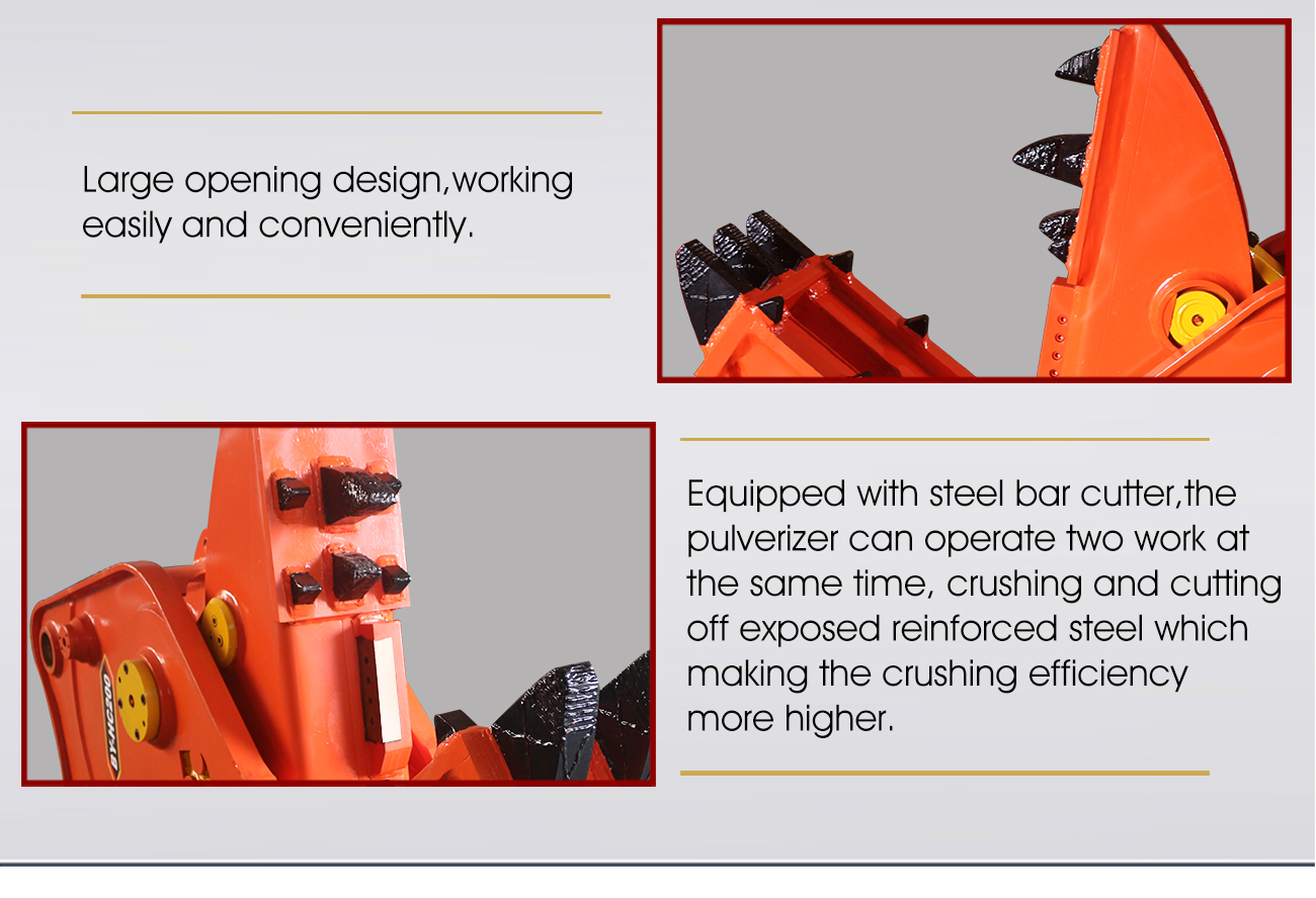 Excavator attachment rock crusher concrete pulverizer