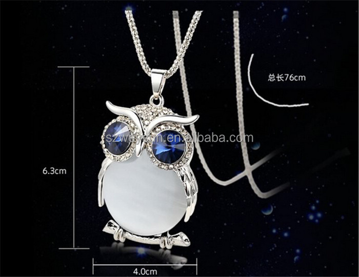 Fashion Womens Necklaces Jewelry Trendy Charms Crystal Owl Necklace Gold Long Chain Animal Necklaces&Pendants