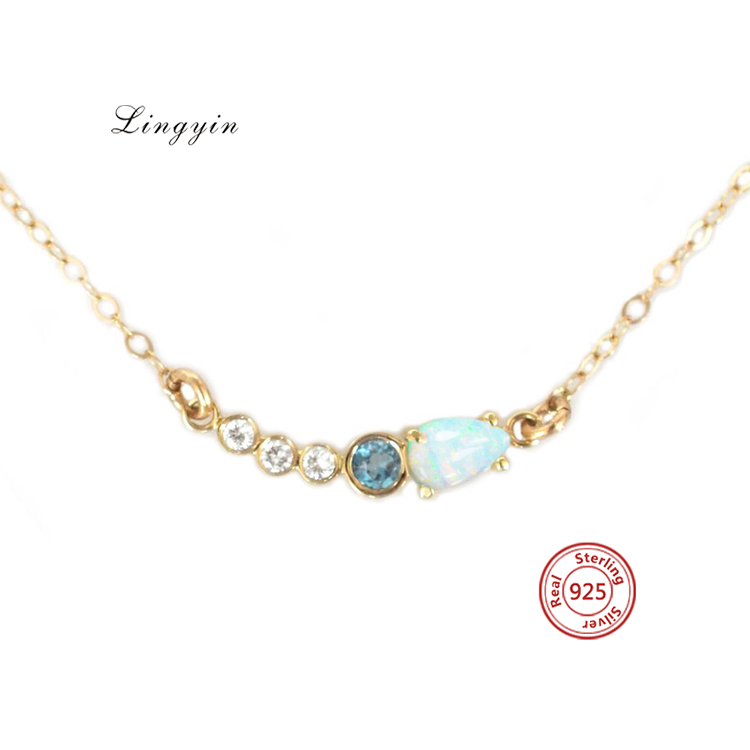 925 Sterling silver necklace 2020 fashion light moonstone and fire opal necklace