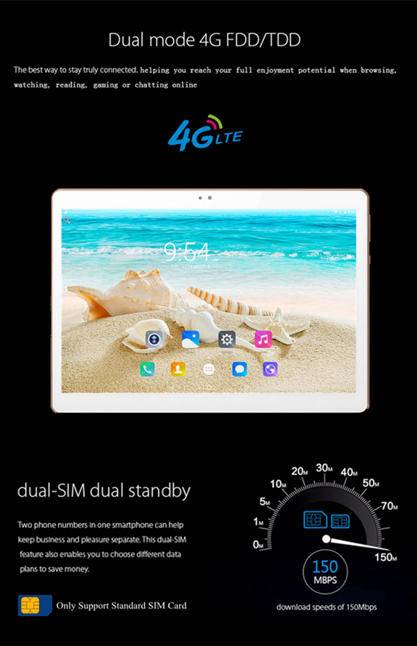 Tablet 10.1 inch Octa Core 4GB RAM 64GB ROM android 6.0 10.1 inch tablet PC 4G LTE 1920*1280 IPS Dual Cameras 3G sim tablet PC