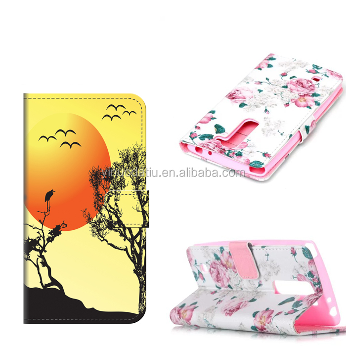high quality cute flip leather back cover Leather case for LG magna /H520N/C90/G4 mini