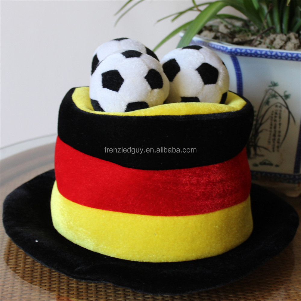 wholesale gemany flag color mini football fans top hat