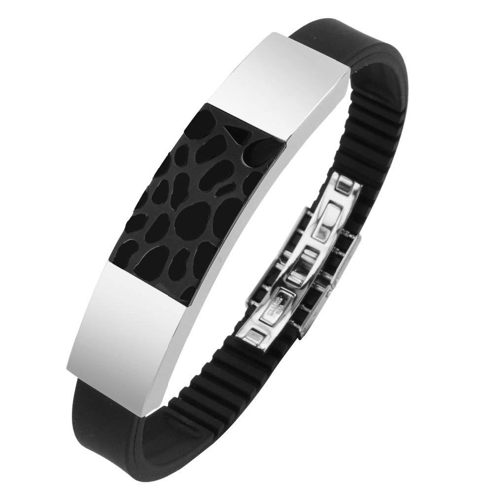 Stainless Steel Two Tone IP Black Bracelet Bangle for Men фото