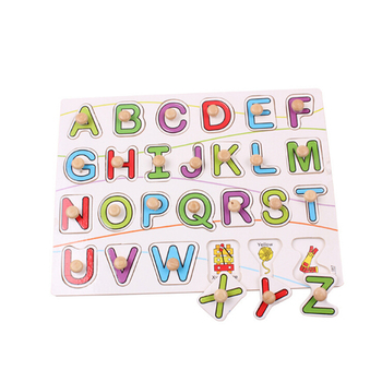 Wooden educational baby toys wooden capital letter puzzle