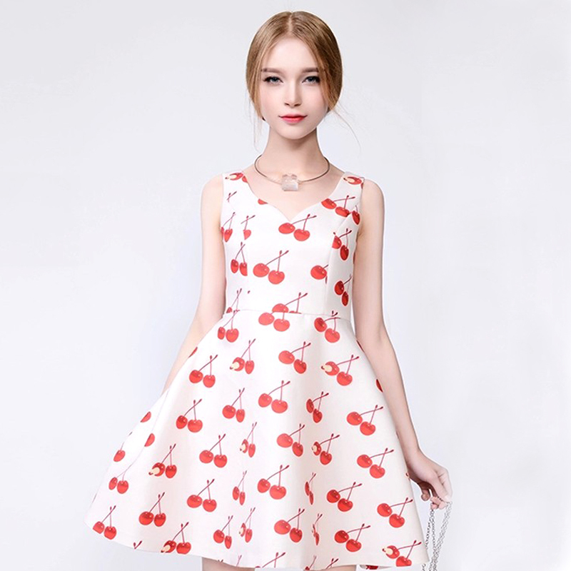 fe1d4a3fdea7c Get Quotations · Cute Elegant Lady Gown Dress New Style Hand Drawing Cherry  Pattern 100% Polyester V-