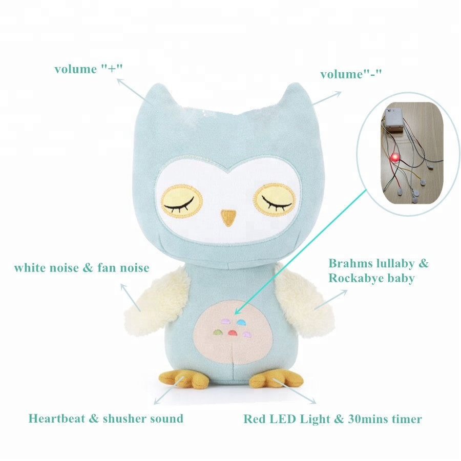 Baby Sleep Aid Soother Owl Stuffed Animal Plush Toy With Pink Led