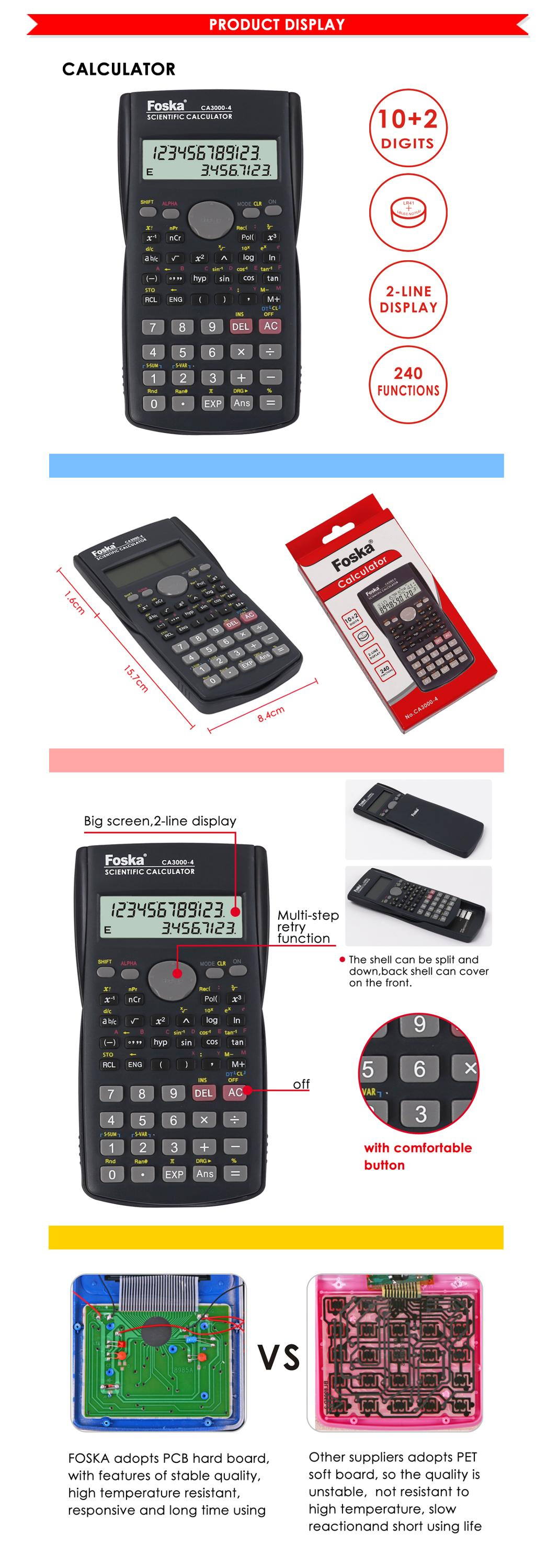 10+2 Digit 2-Line Display 240 Function Electronic Scientific Calculator