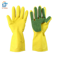 Ladies Household Kitchen Scourer Dishwashing Glass Reusable Cleaning Sponge Gloves