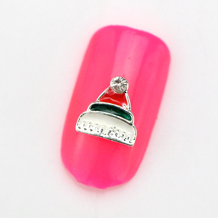 c-61 Wholesale 10pcs 3D Christmas Hat Alloy Nail Art Tips Glitters DIY Decorations nail art supplies free shipping