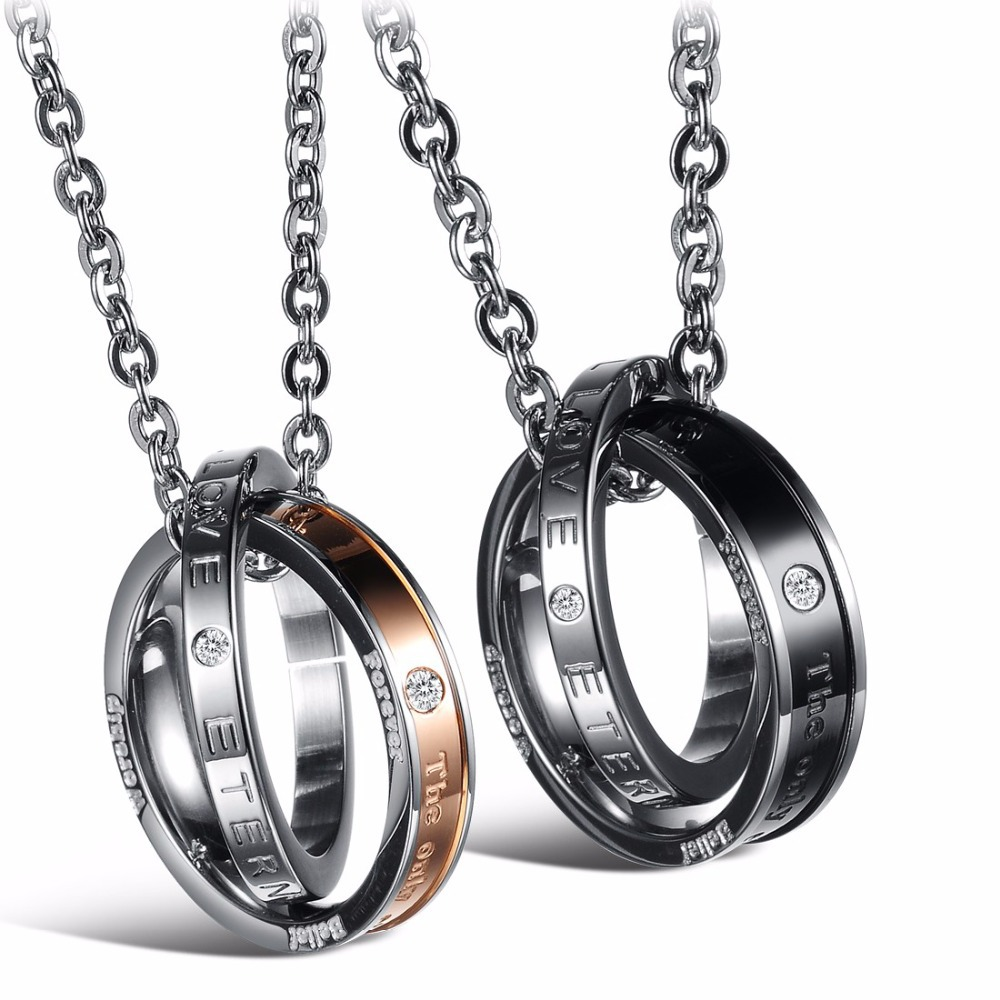a5c31de04f Couple Font B Jewelry B Font For Lovers Pendant Necklace Stainless Steel  Necklaces Font B Forever