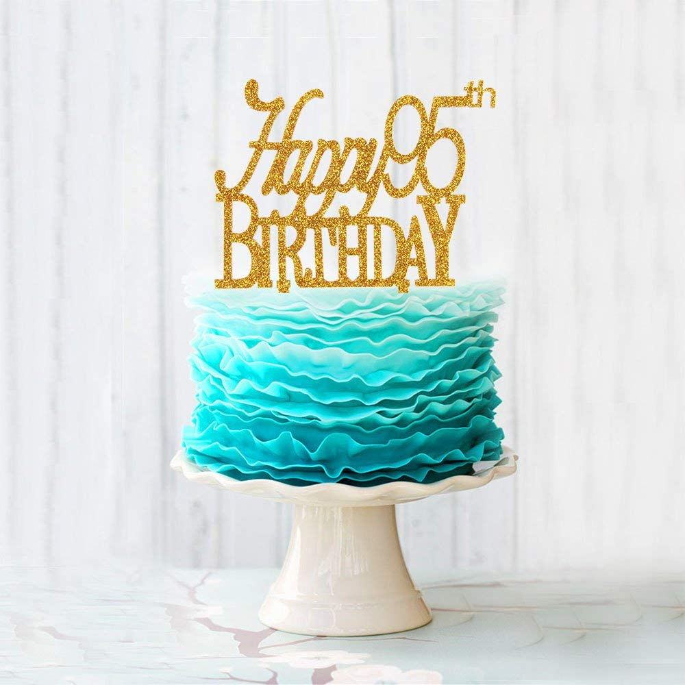 Get Quotations Happy 95th Birthday Acrylic Cake Topper For 95 Years Old Party Decoration Supplies Gold
