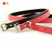 Red thin belt for women dress pu waist belt for women