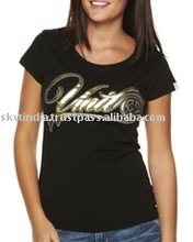 GOLD FOIL PRINTED WOMENS PROMOTIONAL T-SHIRT
