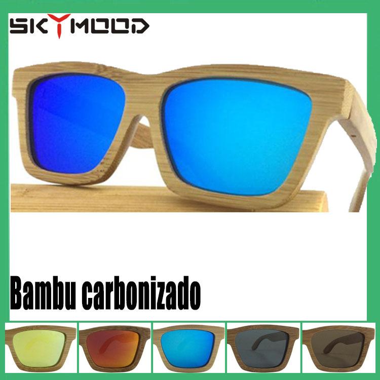 c981212e8 armacao Borboleta carbonizada Óculos de sol masculinos polarizada espelhado  Azul Oculos de bambu polarizado