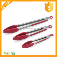 Kitchen Utensil Cook Serve Stainless Steel New Locking Tongs with silicone Heads