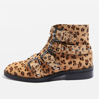 93cb8c5e8ad0 Women Gender leopard print real leather Flat fur boots with buckle and stud