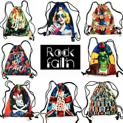 Fashion rock party sport shoping canvas cotton backpack waterproof non woven drawstring bag