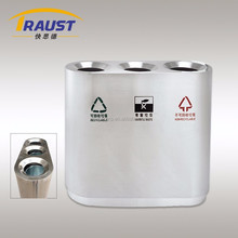 3 compartment stainless steel recycle bin