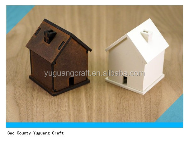 2015 new hot sale house shaped wood money saving box for kids
