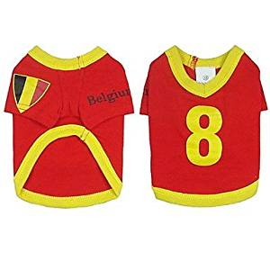 BuW Belgium Soccer Jersey 100% Cotton for Pet Dog and Cats (S Size) puppy clothes dog coats and sweaters fashionable dog clothes