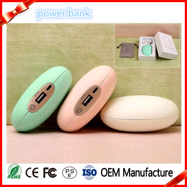 New Design Lovely Mini Pea Charge Power Bank 3600mha With Hand Warmer
