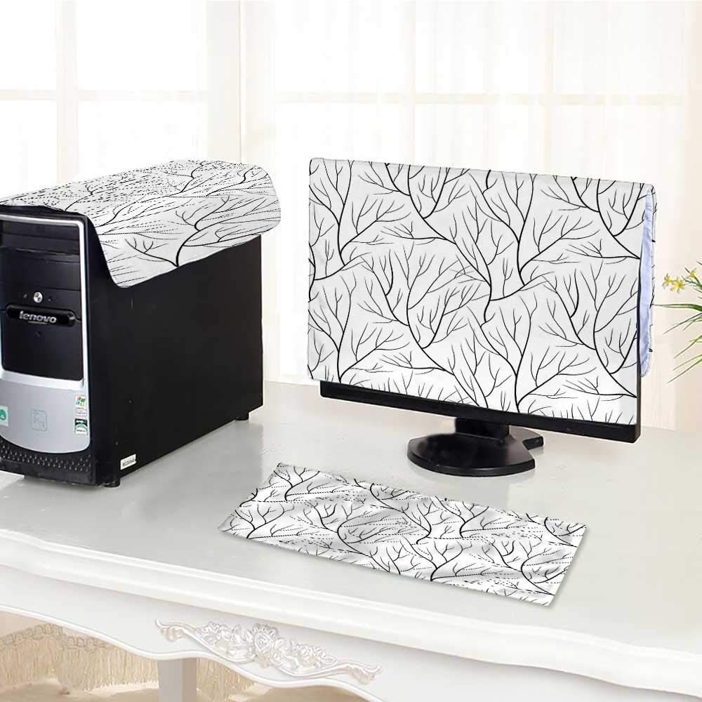 """Auraisehome Flat Screen Protector 3 Pieces Tree Without Leaves Nature Theme Leafless Delicate Branches Pattern Japanese Style White B Anti-Static Vinyl /26"""""""
