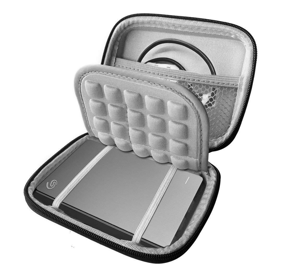 FitSand (TM) Shockproof Black Carrying Travel EVA Hard Case Pouch Bag for Seagate Backup Plus Slim 1TB Portable External Hard Drive