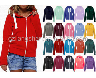 OEM Wholesale NEW LADIES WOMENS FLEECE 100%COTTON PLAIN HOODED HOODIE JACKETS ZIPPER SWEATSHIRT
