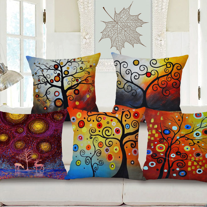 45cm 200g Ink Wash Painting Tree Thick Fashion Cotton Linen Throw Pillow Hot Sale 18 Inch New Home Decor Sofa Back Cushion MQQ