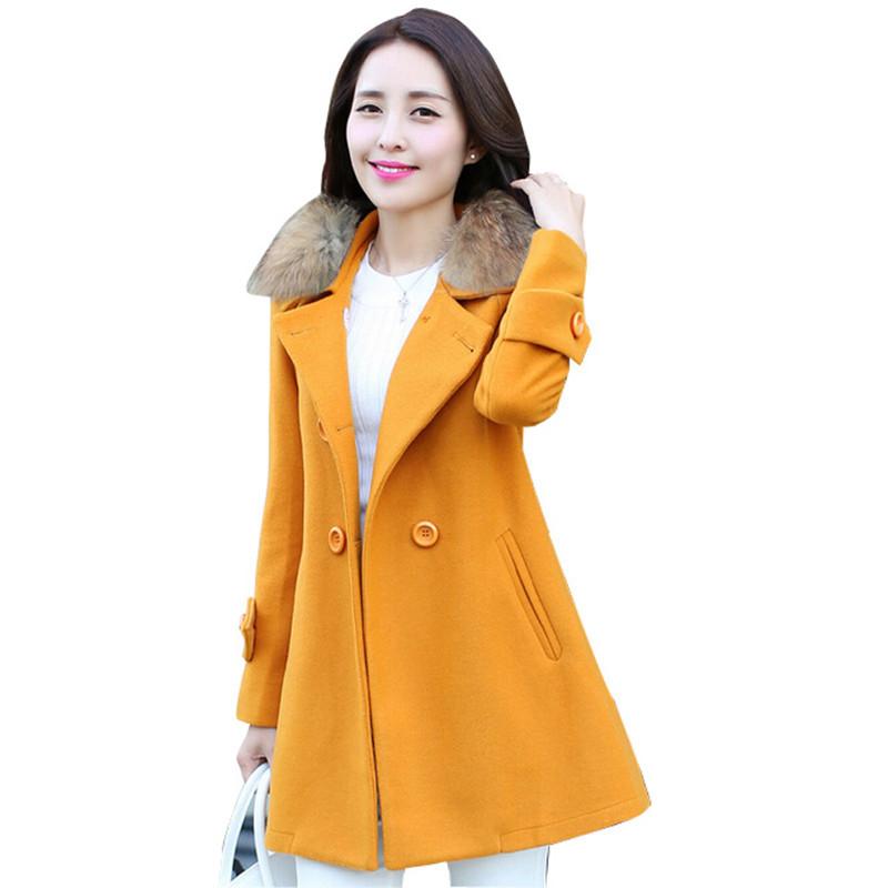 0bac9e5037b Get Quotations · 2015 Winter Coat Women Thick Casaco Feminino Long Woolen  Trench Coat Female Fur Collar Overcoat Wild